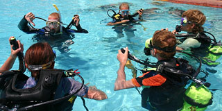 diving class, showing scuba equipment