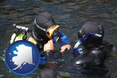 alaska map icon and a scuba diving lesson in Monterey Bay, California
