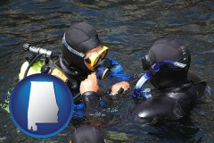 alabama map icon and a scuba diving lesson in Monterey Bay, California