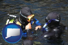 connecticut map icon and a scuba diving lesson in Monterey Bay, California