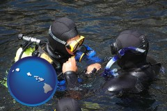 hawaii map icon and a scuba diving lesson in Monterey Bay, California