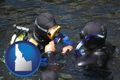 idaho map icon and a scuba diving lesson in Monterey Bay, California