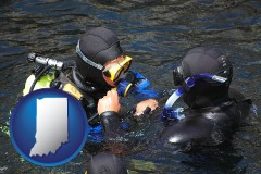 indiana map icon and a scuba diving lesson in Monterey Bay, California