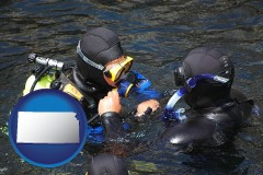 kansas map icon and a scuba diving lesson in Monterey Bay, California