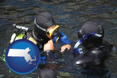massachusetts map icon and a scuba diving lesson in Monterey Bay, California