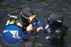 maryland map icon and a scuba diving lesson in Monterey Bay, California