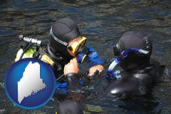 maine map icon and a scuba diving lesson in Monterey Bay, California