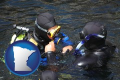 minnesota map icon and a scuba diving lesson in Monterey Bay, California