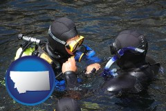 montana map icon and a scuba diving lesson in Monterey Bay, California