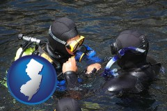 new-jersey map icon and a scuba diving lesson in Monterey Bay, California