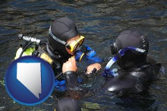nevada map icon and a scuba diving lesson in Monterey Bay, California