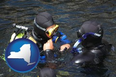 new-york map icon and a scuba diving lesson in Monterey Bay, California