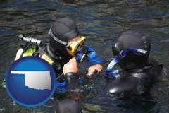 oklahoma map icon and a scuba diving lesson in Monterey Bay, California