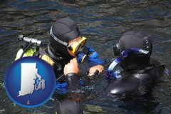 rhode-island map icon and a scuba diving lesson in Monterey Bay, California