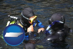 tennessee map icon and a scuba diving lesson in Monterey Bay, California