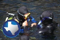 texas map icon and a scuba diving lesson in Monterey Bay, California