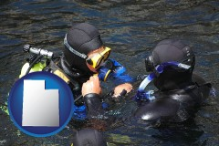 utah map icon and a scuba diving lesson in Monterey Bay, California