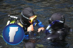 vermont map icon and a scuba diving lesson in Monterey Bay, California