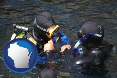 wisconsin map icon and a scuba diving lesson in Monterey Bay, California