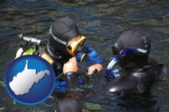 west-virginia map icon and a scuba diving lesson in Monterey Bay, California