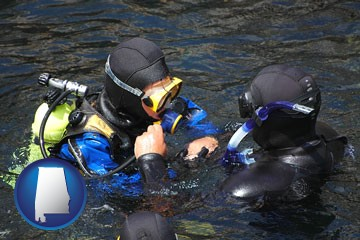 a scuba diving lesson in Monterey Bay, California - with Alabama icon