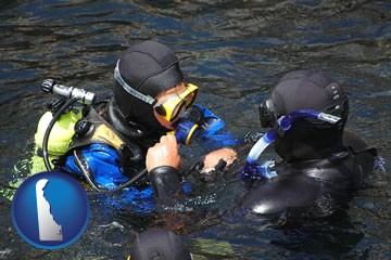 a scuba diving lesson in Monterey Bay, California - with Delaware icon