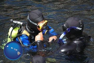 a scuba diving lesson in Monterey Bay, California - with Hawaii icon