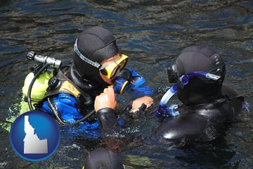 a scuba diving lesson in Monterey Bay, California - with Idaho icon