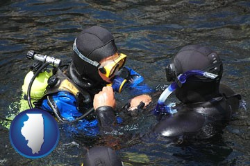 a scuba diving lesson in Monterey Bay, California - with Illinois icon