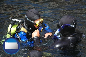 a scuba diving lesson in Monterey Bay, California - with Kansas icon