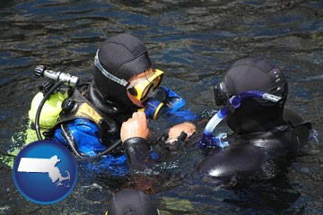 a scuba diving lesson in Monterey Bay, California - with Massachusetts icon
