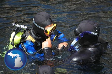 a scuba diving lesson in Monterey Bay, California - with Michigan icon