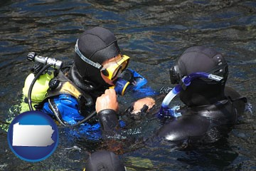 a scuba diving lesson in Monterey Bay, California - with Pennsylvania icon