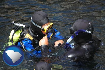 a scuba diving lesson in Monterey Bay, California - with South Carolina icon