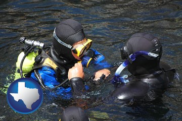 a scuba diving lesson in Monterey Bay, California - with Texas icon