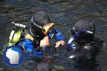 a scuba diving lesson in Monterey Bay, California - with Wisconsin icon