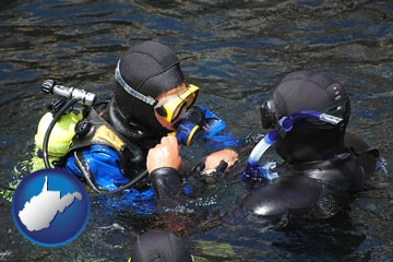 a scuba diving lesson in Monterey Bay, California - with West Virginia icon